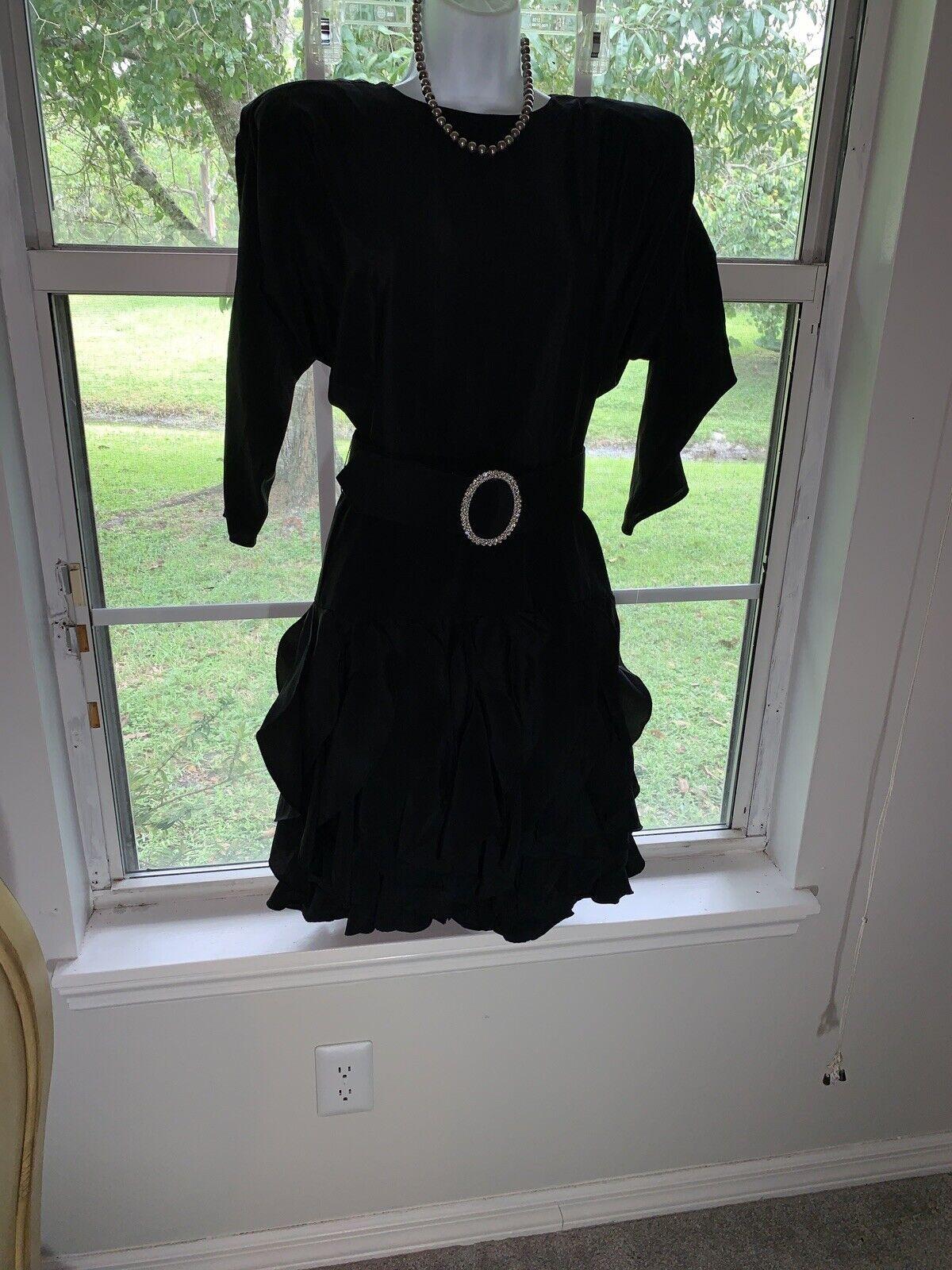1980's Sexy Little Black Dress Rhinestone BELT RU… - image 6