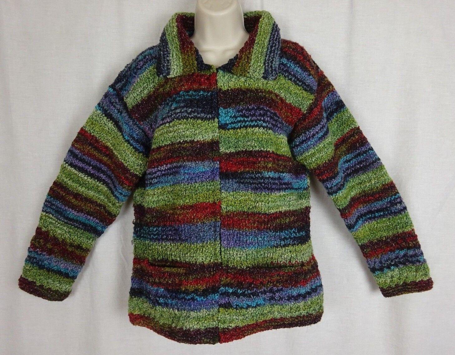 colorful Chunky Handknit Alpaca Wool Sweater Alpaca Connection Made in Ecuador