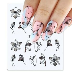 Nail-Art-Water-Decals-Stickers-Transfers-Black-Flowers-Tulips-Floral-Petals-883