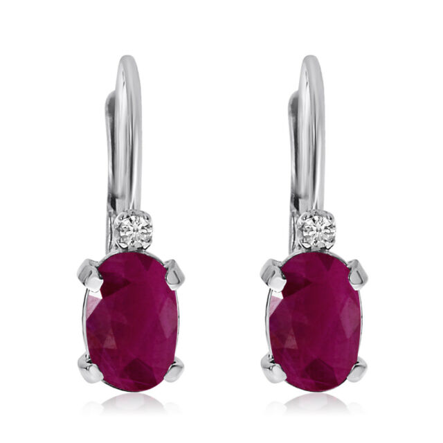 14k White Gold Oval Ruby And Diamond Leverback Earrings