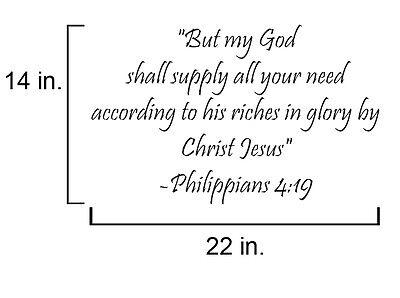 Bible Verse Phillippians 4:19 quote  wall vinyl decal