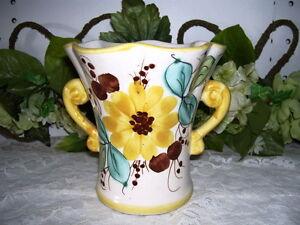 Handpainted Folk Art Vase Made in Portugal for FTD Floral