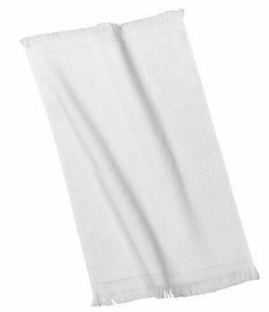 6 WHITE TERRY VELOUR FINGERTIP GOLF HAND TOWELS 11X18