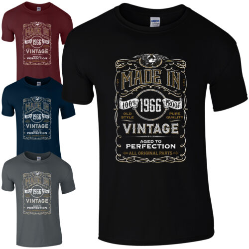 Made in 1966 T-Shirt Born 53rd Year Birthday Age Present Vintage Funny Mens Gift