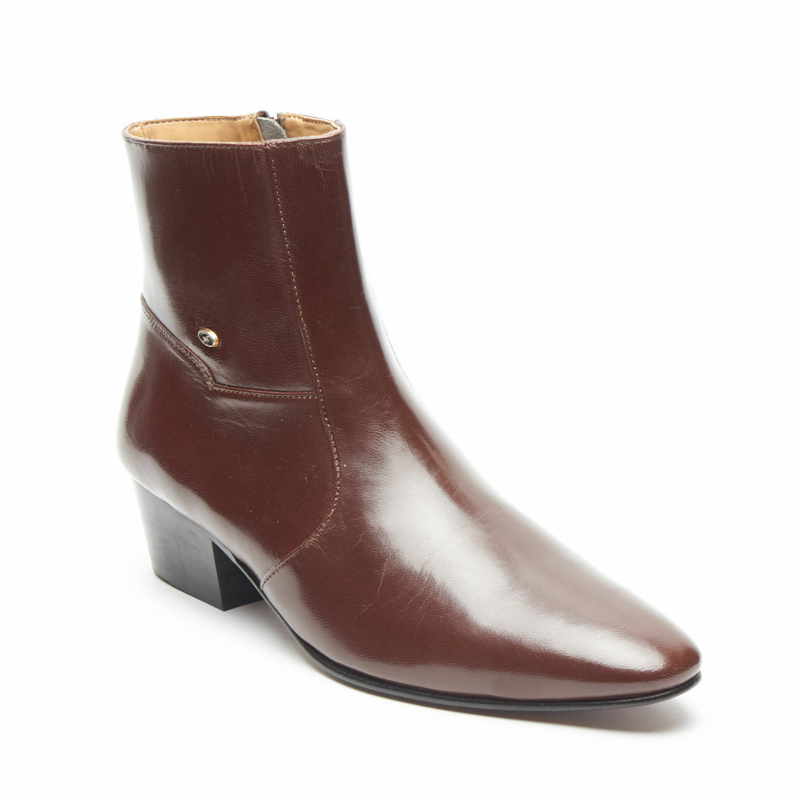 Mens Formal Lucini Leather Brown Cuban Heel Wedding Ankle Boots Zip Up