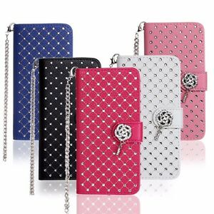 Hot-New-Diamond-Bling-Leather-PU-Case-Flip-Cover-Kickstand-Card-Pocket-DTMTX