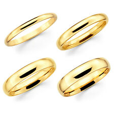 Solid 10K Yellow Gold 2mm 3mm 4mm 5mm Comfort Fit Men Women Wedding Band Ring