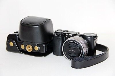 Leather case bag strap Camera for Sony alpha a6000 A6300 With 16-50mm Lens BLACK