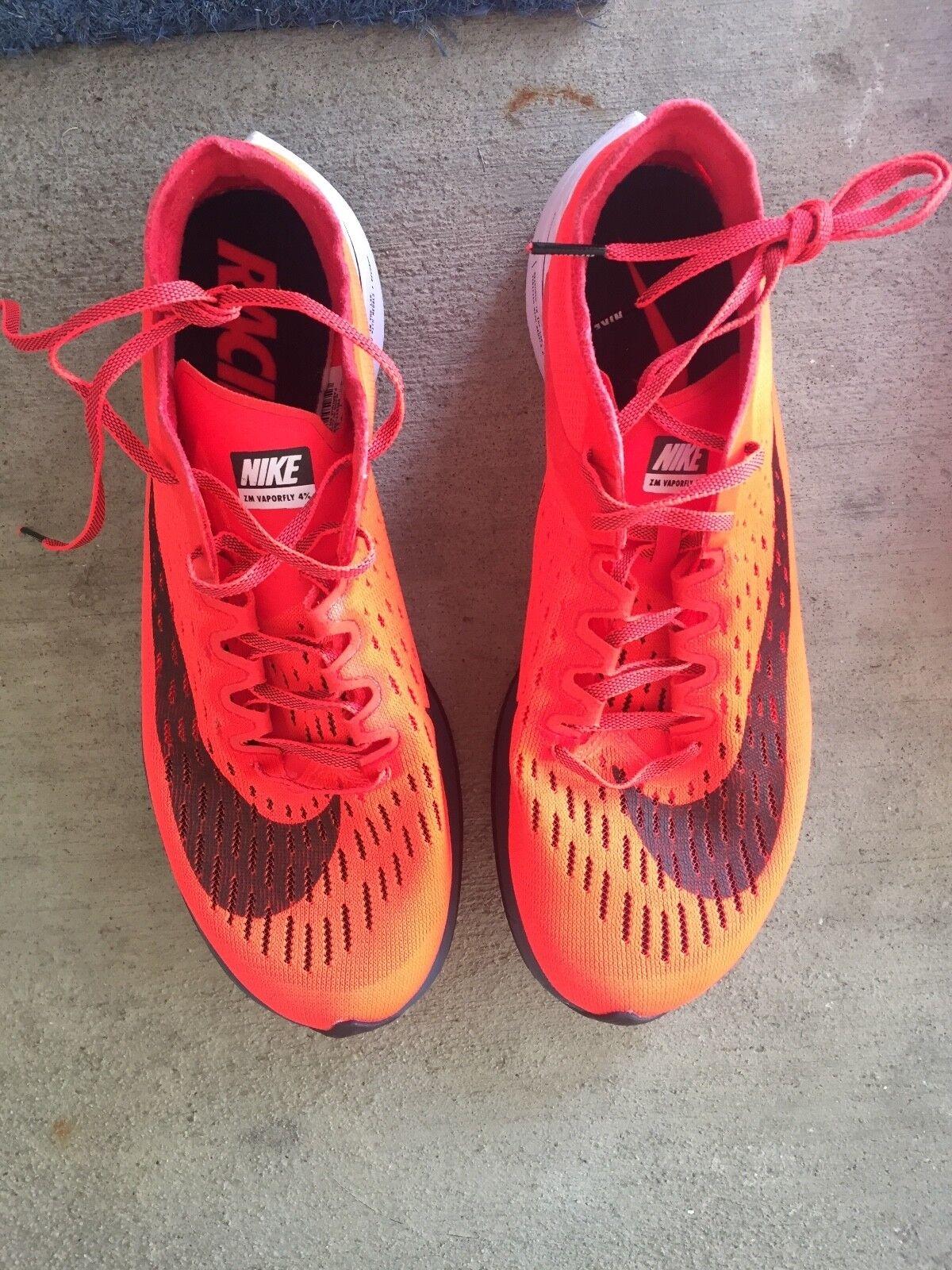 Nike Mens Zoom Vaporfly 4% Bright Crimson Black Red Race. Men's size 8.
