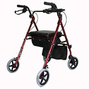 New-red-Aluminum-Foldable-Rollator-Walking-Frame-Outdoor-Walker-Aids-Mobility