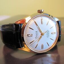 NEW OLD STOCK Vintage ROYCE AUTOMATIC Mens SWISS MADE wristwatch 1960s-MINT