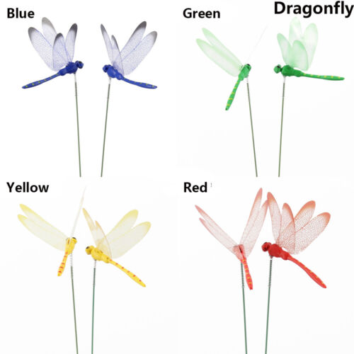 5Pcs Simulation Butterfly Thin Stick Artificial Dragonfly With Stem Crafts