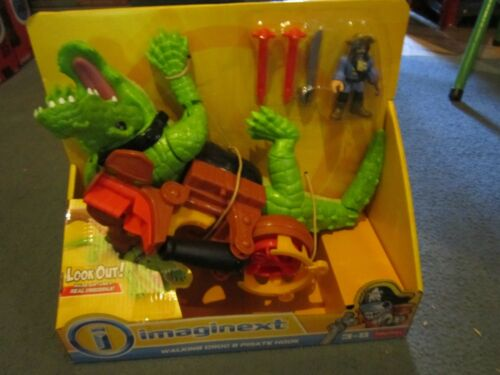 Fisher Price Imaginext Pirates Walking Croc and Pirate Hook Captain Figure NEW