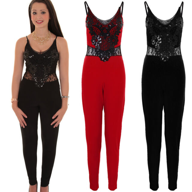 Ladies Sleeveless V Neck Floral Sequin Lace Insert Stretch All In One Jumpsuit