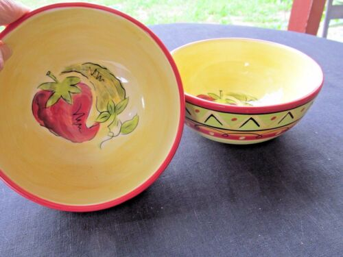 """HAUSENWARE MARY JANE MITCHELL RED//GREEN CHILI PEPPERS 2 SW CEREAL SOUP BOWLS 6/"""""""