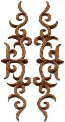 Brown trim fringe leaves boho retro sew applique iron-on patches pair new S-1109