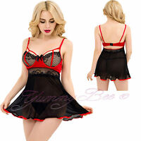 Sexy Lace Chemise Babydoll Plus Size 8-24 Lingerie G String Set Dress Nightwear