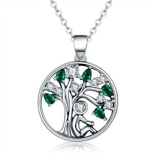 Green-Tree-of-Life-Charm-Circle-Pendant-amp-Necklace-in-Solid-925-Sterling-Silver