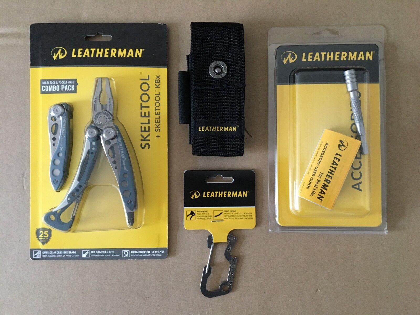 Leatherman Skeletool KBx832444 Combo bluee+Sheath+Extender+ Carabiner Cap Lifter