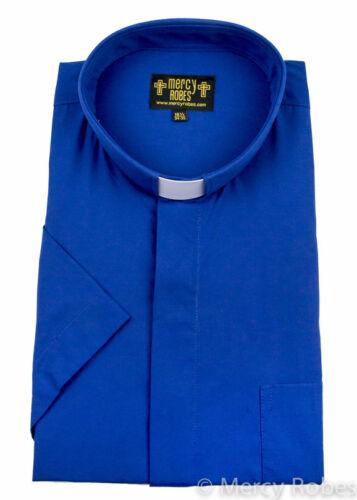 Homme Bleu Royal clergé Chemise Manches courtes Onglet Col ministre Pasteur