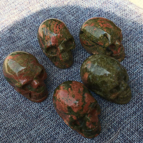 """Details about  /2/"""" Natural unakite quartz crystal skull Hand Carved Crystal Healing 1pc"""