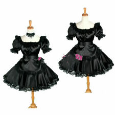 Pre-made  yellow satin sissy maid dress
