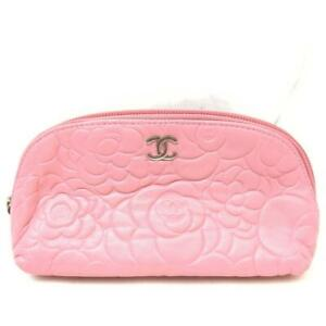 Chanel Pink Embossed Camellia Cosmetic Pouch Make Up Case 863008