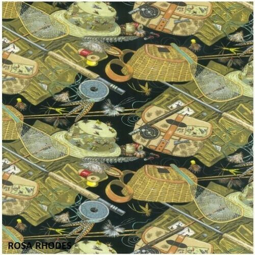 87440 NUTEX PATCHWORK FABRIC TROUT FISHING EQUIPMENT 34cm x 112cm