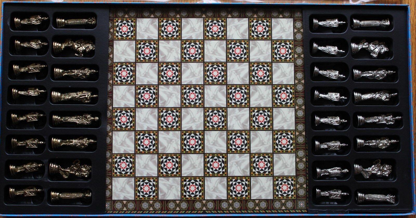 Metal Ancient Roman Figure & 11 x11  Compress Wood Board Chess Set