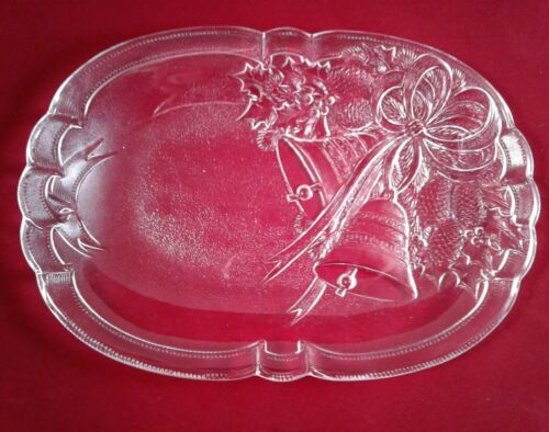 MIKASA Crystal 10.25 Serving Tray HOLIDAY BELLS w Box Oblong Oval glass JAPAN