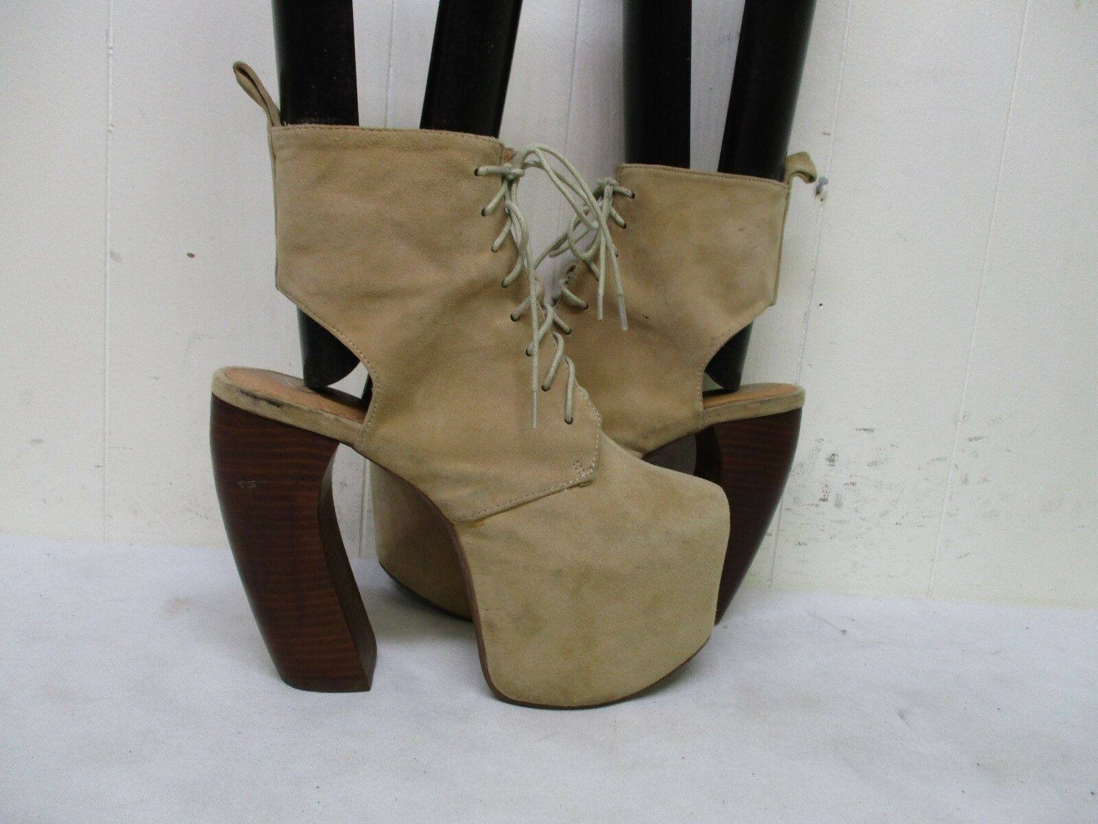 Jeffrey Ankle Campbell Havana Last Beige Suede Leather High Heel Ankle Jeffrey Boots Size 7 M 23d7f1