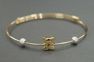 469c0134dbfb9 Details about 14K Solid Yellow Gold Bear With Balls Children Baby  Adjustable Bangle Bracelet.