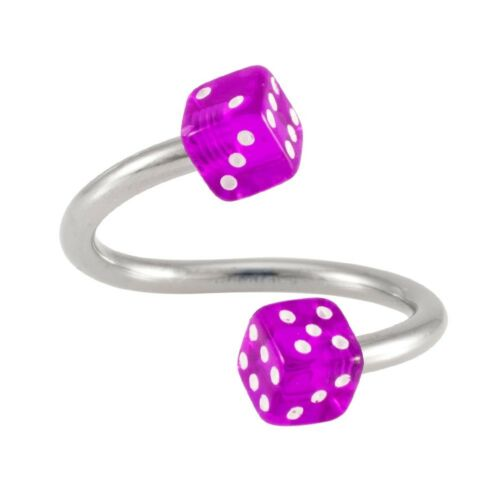 Dice Twister Body Jewelry 14G 12mm Surgical Steel