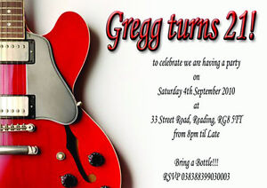 Red electric guitar birthday party invitations x 12 with free image is loading red electric guitar birthday party invitations x 12 filmwisefo
