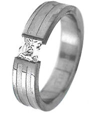 TITANIUM TENSION Solitaire RING with Square CZ and Accent Band, size 6