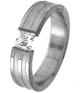 TITANIUM-TENSION-Solitaire-RING-with-Square-CZ-and-Accent-Band-size-6