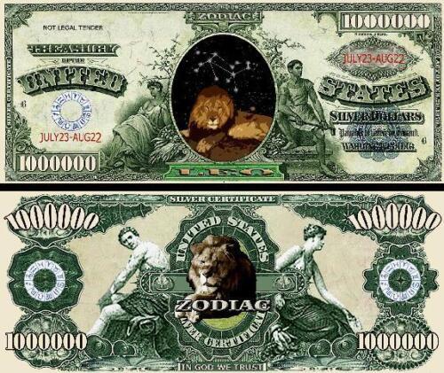 FREE SLEEVE Leo Zodiac Million Dollar Bill Fake Play Funny Money Novelty Note