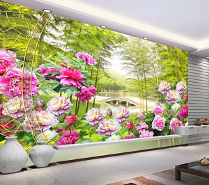 3D Bamboo Forest Flowers Bed Wall Paper Wall Print Decal Wall AJ WALLPAPER CA
