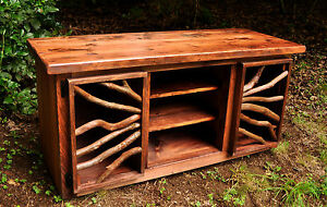 Image Is Loading Rustic Red Wood Furniture Tv Media Table Stand