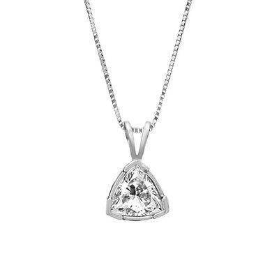0.75 CT Excellent Trillion Cut 14k Solid White Gold Solitaire Pendant Necklace
