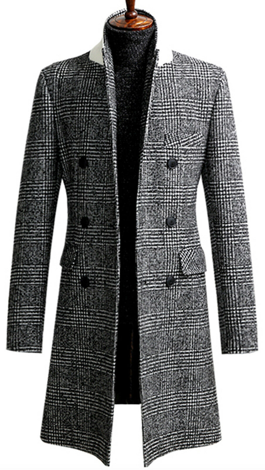 Mens Slim Check Double Breasted Long Coat Blazer Jacket Jumper Outwear W017- S M