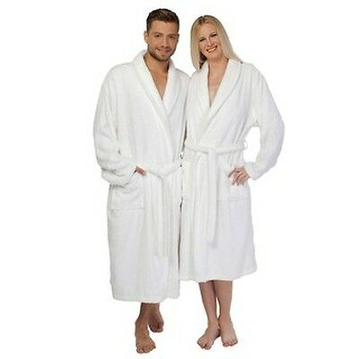 Authentic Hotel Spa Unisex White Turkish Cotton Terry Cloth Bath Robe