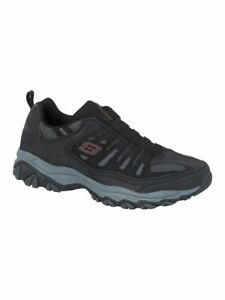 NEW Mens SKECHERS After Burn M. Fit Navy Gray LEATHER Slip On Walking Shoes