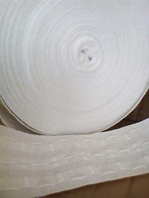 Premium Blanco Plisado Del Lápiz Cortina cinta de cabecera 3 pulgadas 75mm Ancho Vendido Por Metro