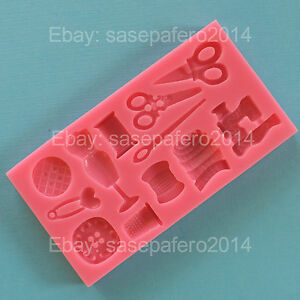 Sewing Sugarcraft Mould Scissors Needle Machine Thimble Icing Fondant Cake Mold