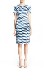 St. John Collection BLUE Mosaic Cube Jacquard Knit Sheath Dress SIZE 4 NeW
