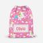 Personalised Unicorn /& Rainbow Girls Pink Drawstring Bag PE Swimming School Bag