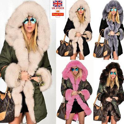 6c3c40794a11 Details about Roiii Women Ladies Winter Long Warm Thick Parka Faux Fur  Jacket Hooded Coat 8-20