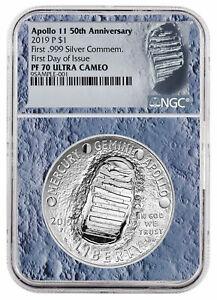 Modern Silver/clad (1982-now) Purposeful 2019 Apollo 11 50th Annv Commem Silver Dollar Ngc Pf70 Fdi Moon Core Sku56541