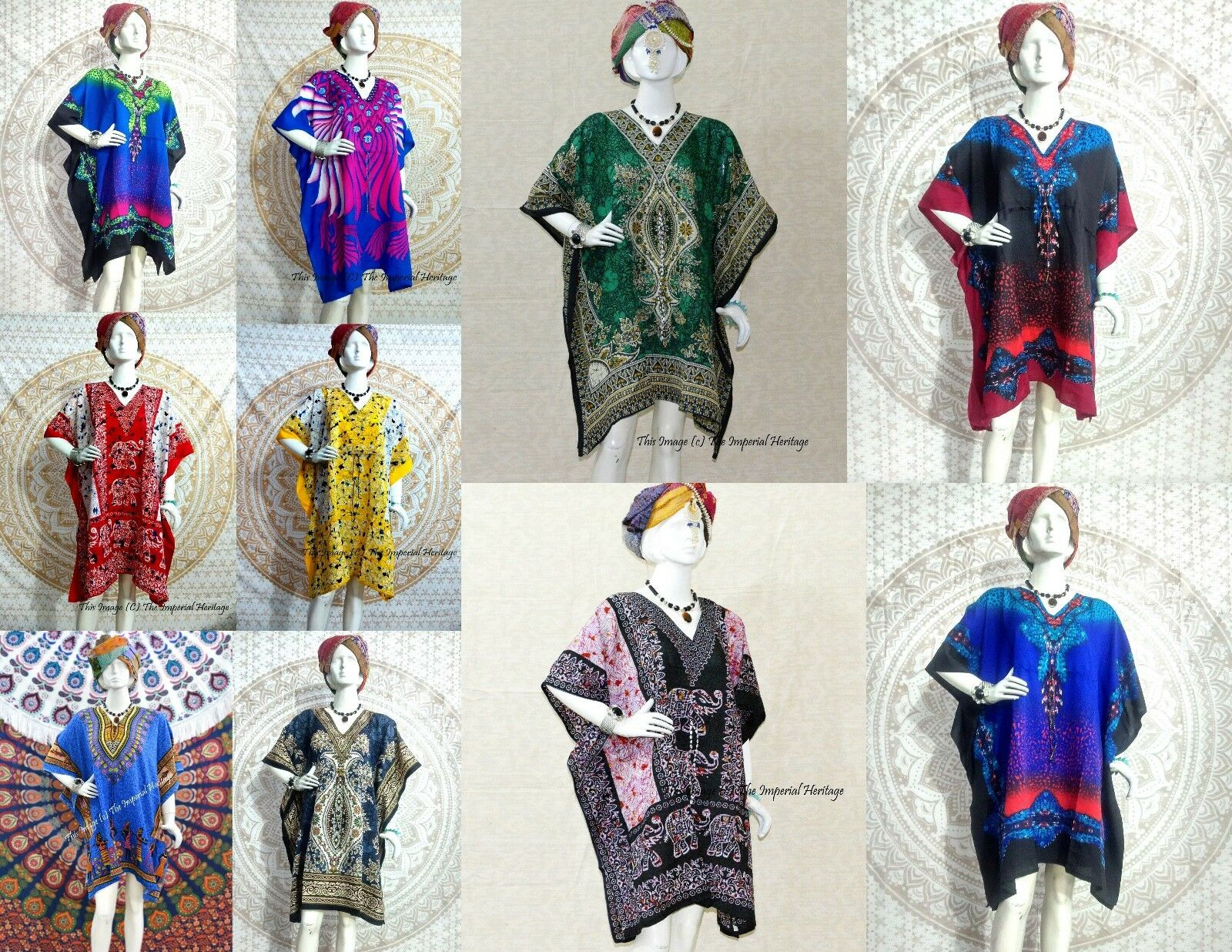 WHOLESALE LOT OF 10 PC SHORT MAXI TUNIC ETHNIC KAFTAN CASUAL WOMEN EVENING DRESS